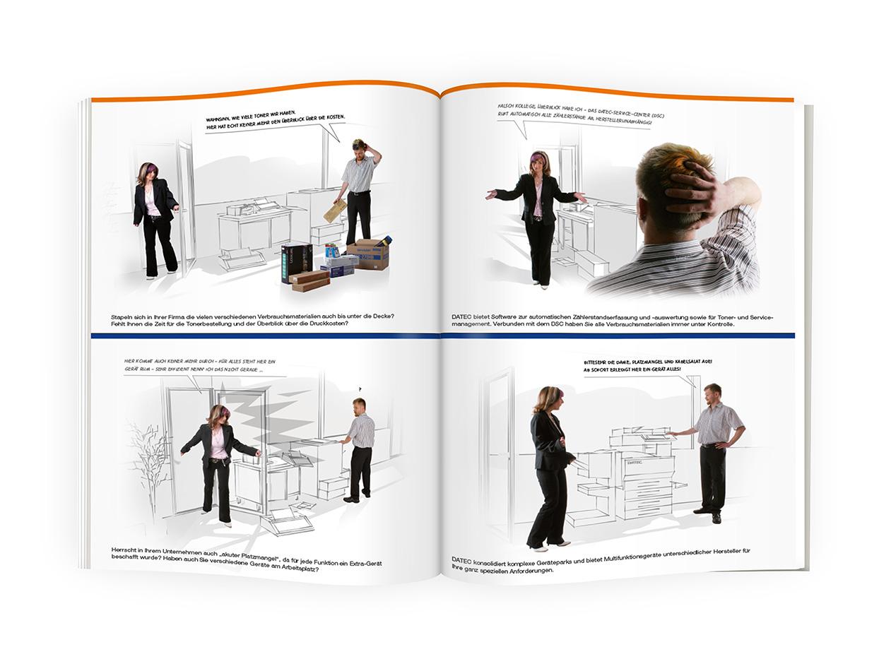 DATEC Imagebroschüre Umschlagseite 2 und Inhaltsseite / -n 2-3