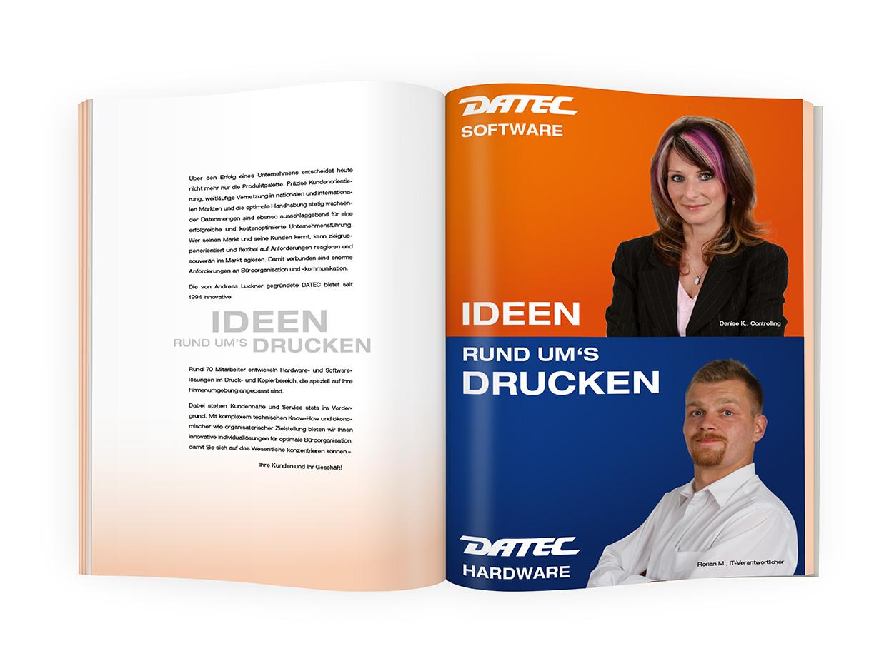 DATEC Imagebroschüre Umschlagseite 2 und Inhaltsseite / -n 1